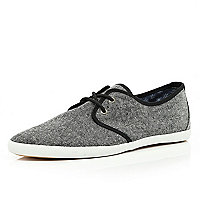 Grey textured lace up plimsolls