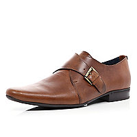 Brown monk strap pointed shoes