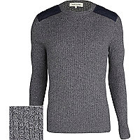 Grey rib quilted shoulder patch jumper