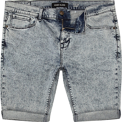 Light acid wash skinny stretch denim shorts