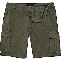 Khaki green cargo shorts