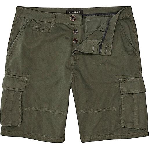 Khaki green cargo shorts