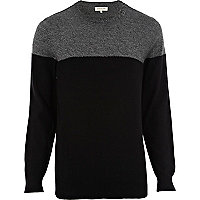 Black colour block crew neck jumper