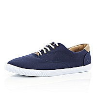 Navy canvas lace up trainers