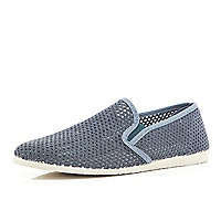 Grey mesh casual slip on plimsolls