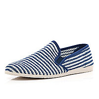 Navy stripe mesh casual slip on plimsolls