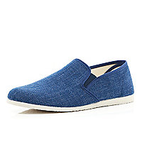 Navy canvas casual slip on plimsolls