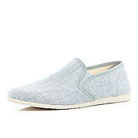 Grey canvas casual slip on plimsolls
