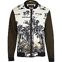Green palm print colour block bomber jacket