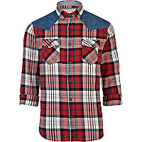 Red check denim shoulder patch shirt