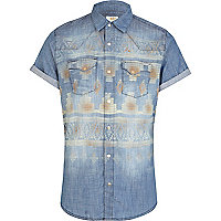 Mid wash aztec print short sleeve denim shirt
