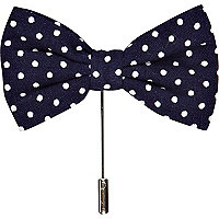 Navy polka dot bow lapel pin