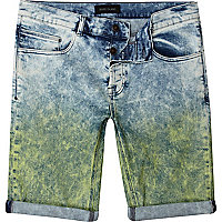 Acid wash coloured dip dye denim shorts