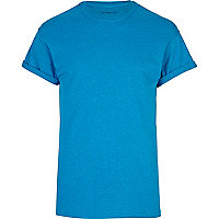 Blue crew neck roll sleeve t-shirt