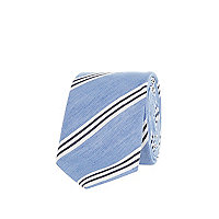 Light blue diagonal stripe tie