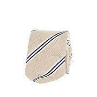 Light beige diagonal stripe tie