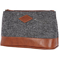 Grey textured wash bag