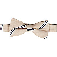 Light beige diagonal stripe bow tie