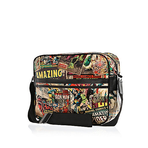Red comic print messenger bag
