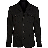 Black utility pocket military blazer