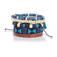 Blue aztec weave leather bracelet pack