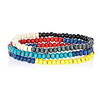 Red colour block bead bracelets pack