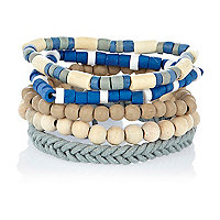 Ecru and blue woven bracelet pack