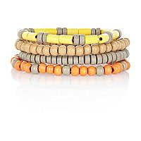 Grey and yellow beaded bracelet pack