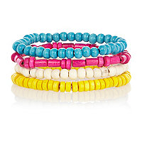 Multicoloured neon bead bracelet pack