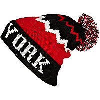 Red colour block New York beanie hat