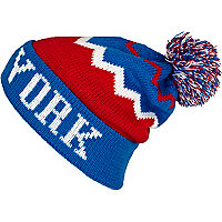 Blue colour block New York beanie hat