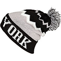 Grey colour block New York beanie hat