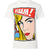 White wham pop art print t-shirt