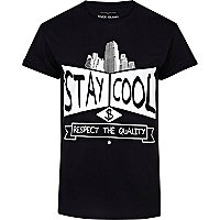 Black stay cool print t-shirt