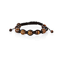 Brown beaded woven bracelet