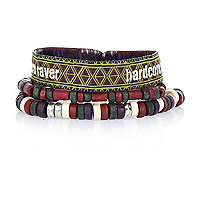 Red hardcore raver bracelet pack