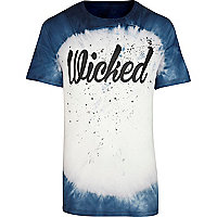Blue tie dye wicked print t-shirt