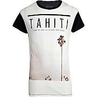 White Tahiti print colour block t-shirt