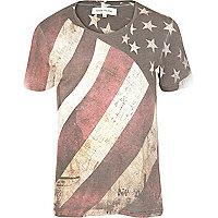 Ecru distressed American flag print t-shirt