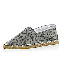 Grey animal print espadrilles