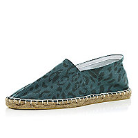 Green animal print espadrilles