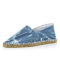 Blue tie dye denim-look espadrilles