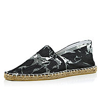 Black tie dye denim-look espadrilles