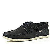 Navy contrast stitched lace up boat shoes