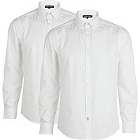 White long sleeve poplin shirt pack