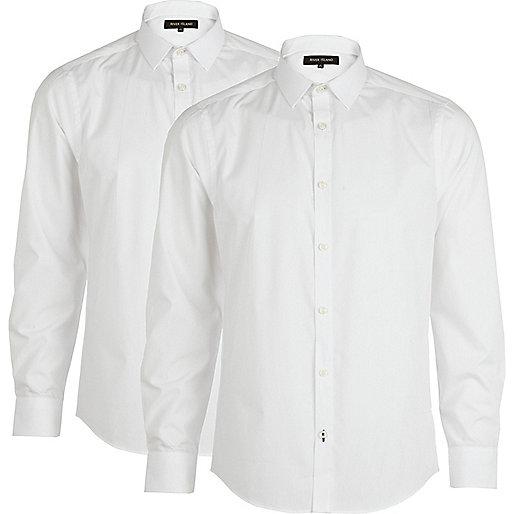 White long sleeve poplin shirt pack