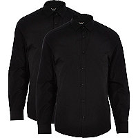 Black long sleeve poplin shirt pack