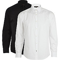 Black and white poplin shirt pack