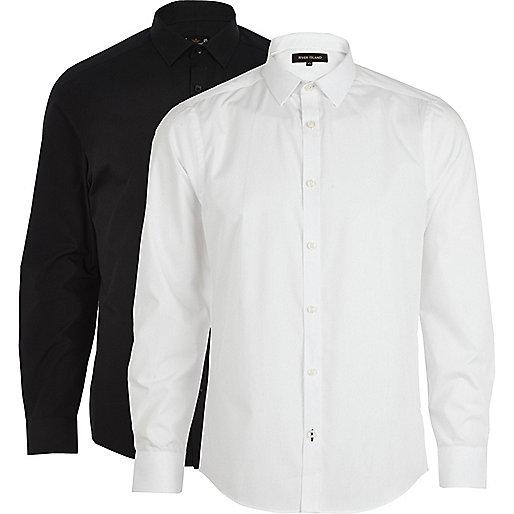 Black and white poplin shirt pack