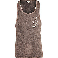 Purple acid wash jam hot back print vest